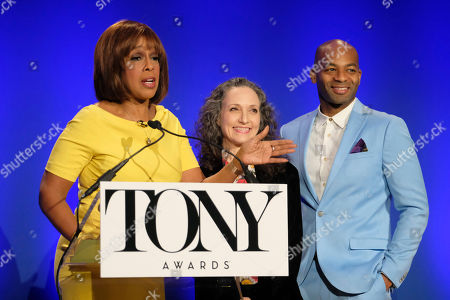 Gayle King, Bebe Neuwirth, Brandon Victor Dixon. Gayle King, left, Bebe Neuwirth and Brandon Victor Dixon participate in the 73rd annual Tony Awards nominations announcement at the New York Public Library for the Performing Arts at Lincoln Center, in New York