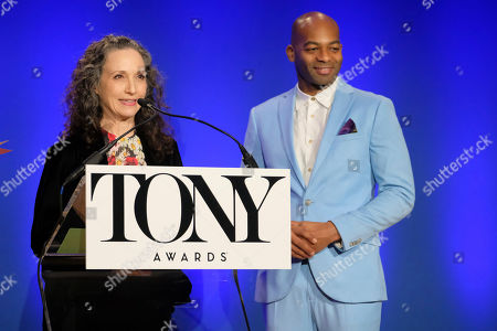 Bebe Neuwirth, Brandon Victor Dixon. Bebe Neuwirth and Brandon Victor Dixon participate in the 73rd annual Tony Awards nominations announcement at the New York Public Library for the Performing Arts at Lincoln Center, in New York