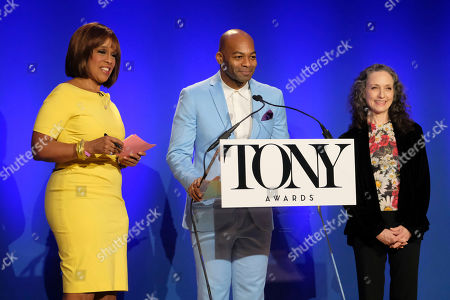 Gayle King, Bebe Neuwirth, Brandon Victor Dixon. Gayle King, left, Brandon Victor Dixon and Bebe Neuwirth participate in the 73rd annual Tony Awards nominations announcement at the New York Public Library for the Performing Arts at Lincoln Center, in New York