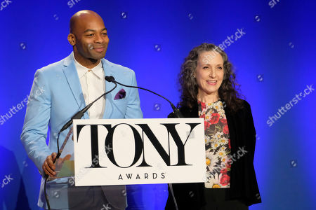 Bebe Neuwirth, Brandon Victor Dixon. Brandon Victor Dixon and Bebe Neuwirth participate in the 73rd annual Tony Awards nominations announcement at the New York Public Library for the Performing Arts at Lincoln Center, in New York