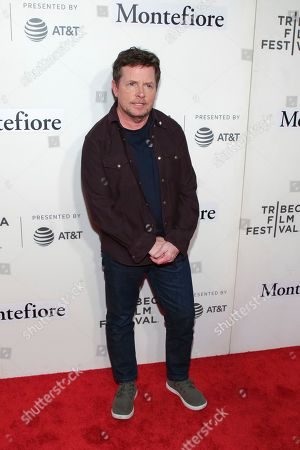 """Michael J Fox attends """"Tribeca Talks - StoryTellers: Michael J Fox with Denis Leary """" during the 2019 Tribeca Film Festival at the Tribeca Performing Arts Center, in New York"""