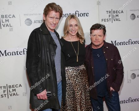 "Denis Leary, Tracy Pollan, Michael J Fox. Actors Denis Leary, from left, Tracy Pollan and Michael J Fox attend ""Tribeca Talks - StoryTellers: Michael J Fox with Denis Leary "" during the 2019 Tribeca Film Festival at the Tribeca Performing Arts Center, in New York"