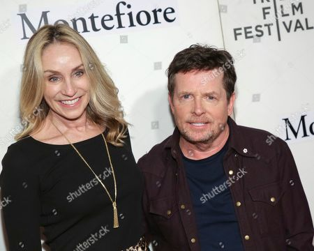 "Tracy Pollan, Michael J Fox. Actors Tracy Pollan, left, and Michael J Fox attend ""Tribeca Talks - StoryTellers: Michael J Fox with Denis Leary "" during the 2019 Tribeca Film Festival at the Tribeca Performing Arts Center, in New York"