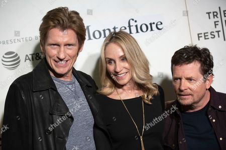 "Denis Leary, Tracy Pollan, Michael J. Fox. Actors Denis Leary, from left, Tracy Pollan and Michael J. Fox attend ""Tribeca Talks - StoryTellers: Michael J. Fox with Denis Leary"" during the 2019 Tribeca Film Festival at the Tribeca Performing Arts Center, in New York"