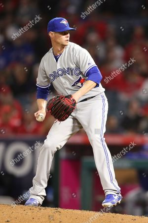 Toronto Blue Jays starting pitcher Clay Buchholz (36) makes the start for the Blue Jays during the game between the Toronto Blue Jays and the Los Angeles Angels of Anaheim at Angel Stadium in Anaheim, CA, (Photo by Peter Joneleit, Cal Sport Media)