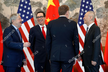 Chinese Vice Premier Liu He (R) talks with US Treasury Secretary Steven Mnuchin (2-L), US Trade Representative Robert Lighthizer (2-R) and US Ambassador to China Terry Branstad (L) after concluding their meeting at the Diaoyutai State Guesthouse in Beijing, China, 01 May 2019.