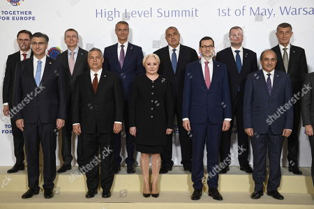 (L-R): Vice-President of the European Commission Jyrki Kataineni, Prime Minister of Croatia Andrej Plenkovic, Latvian Foreign Minister Edgars Rinkevics, Prime Minister Viktor Orban, Deputy Prime Minister of Slovakia Richard Rasi, Prime Minister of Romania Vasilica-Viorica Dancil, prime minister of Bulgaria Boyko Borissov, Polish prime minister Mateusz Morawiecki, prime minister of Lithuania Saulius Skvernelis, chairman of the Republic of Cyprus Dimitris Siluris and prime minister of the Czech Republic Andrej Babis, pose for a family photo with heads of delegation during the summit 'Together for Europe' at the Royal Castle in Warsaw, Poland, 01 May 2019. The 'Together for Europe' EU enlargement 15th anniversary summit was attended by officials of the ten countries that joined the EU in 2004, plus Romania, Bulgaria and Croatia.