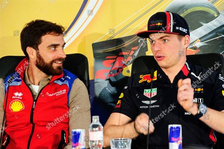 Dutch Formula One driver Max Verstappen (R) of Aston Martin Red Bull Racing speaks during a press briefing next to Belgian Formula E driver Jerome D' Ambrosio (L) before the Great Run, an annual show of racing vehicles, cars and motorbikes, in central Budapest, Hungary, 01 May 2019.