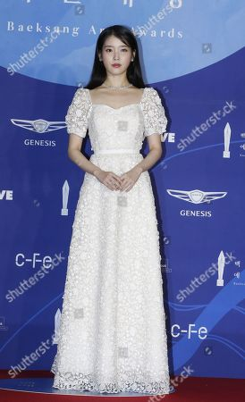 Lee Ji-Eun aka IU poses as she arrives for the 55th annual Baeksang Art Awards at the Coex mall in Seoul, South Korea, 01 May 2019. The award ceremony for the BaekSang Arts Awards is a comprehensive art prize that focuses on screenings of movies, TV, and other works of popular culture among the public.