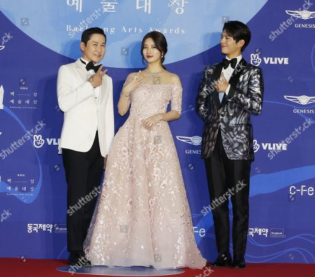 South Korean gagman Shin Dong-yeop (L), South Korean girl group 'miss A' member, singer and actress suzy of Bea Soo-ji (C) and South Korean actor Park Bo-gum (R) pose as they arrive for the 55th annual Baeksang Art Awards at the Coex mall in Seoul, South Korea, 01 May 2019. The award ceremony for the BaekSang Arts Awards is a comprehensive art prize that focuses on screenings of movies, TV, and other works of popular culture among the public.