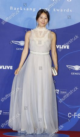 South Korean actress Kim Hee-ae poses as she arrives for the 55th annual Baeksang Art Awards at the Coex mall in Seoul, South Korea, 01 May 2019. The award ceremony for the BaekSang Arts Awards is a comprehensive art prize that focuses on screenings of movies, TV, and other works of popular culture among the public.