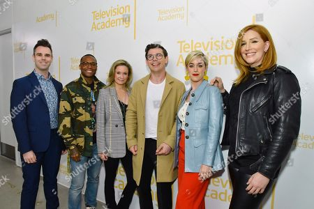 "Rob Forman, Ben Corey Jones, Joanna Johnson, Ryan O'Connell, Lauren Morelli, Our Lady J. Moderator Rob Forman and panelists, from left, Ben Corey Jones, Joanna Johnson, Ryan O'Connell, Lauren Morelli and Our Lady J pose at the Television Academy's Writers Peer Group event, ""Writing LGBTQ+ Love and Romance on TV"" at the Saban Media Center on in North Hollywood, Calif"