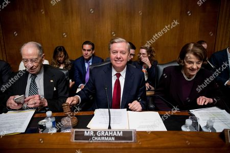 Lindsey Graham, Susan Collins, Chuck Grassley. Chairman Sen. Lindsey Graham, R-S.C., center, accompanied by Sen. Chuck Grassley, R-Iowa, left, and Ranking Member Sen. Susan Collins, R-Maine, right, gavels the beginning of a Senate Judiciary Committee hearing on Capitol Hill in Washington, where Attorney General William Barr will testify on the Mueller Report