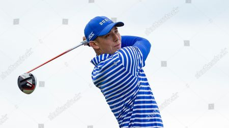 Stock Picture of Duke's Evan Katz tees off on eighteen during the Atlantic Coast Conference Championship golf tournament, in New London, N.C