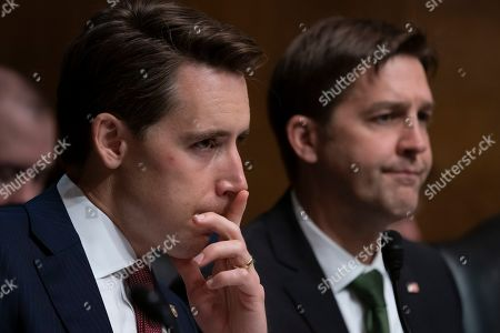 Josh Hawley, Ben Sasse. Sen. Josh Hawley, R-Mo., left, and Sen. Ben Sasse, R-Neb., listen as Attorney General William Barr testifies before the Senate Judiciary Committee about special counsel Robert Mueller's Russia report, on Capitol Hill in Washington, . P