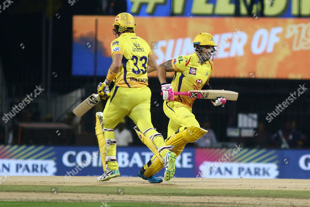 Chennai Super Kings' Shane Watson and Faf du Plessis running between the wickets during the VIVO IPL T20 cricket match between Chennai Super Kings and Delhi Captails in Chennai, India