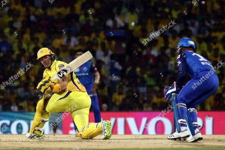 Chennai Super Kings' Shane Watson plays a shot plays a shot during the VIVO IPL T20 cricket match between Chennai Super Kings and Delhi Captails in Chennai, India