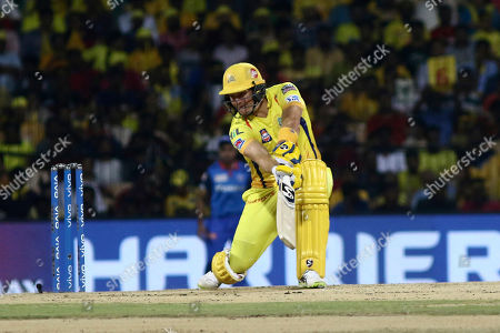 Chennai Super Kings' Shane Watson plays a shot during the VIVO IPL T20 cricket match between Chennai Super Kings and Delhi Captails in Chennai, India