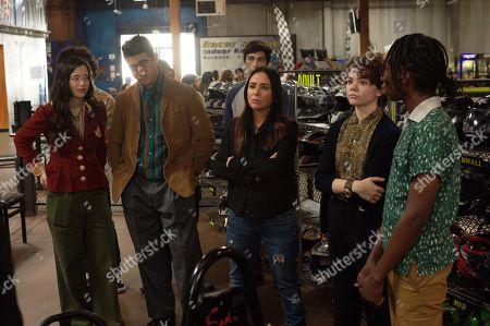 Stock Photo of Mikey Madison as Max, Shak Ghacha as Ollivier, Pamela Adlon as Sam Fox, Hannah Alligood as Frankie and Jeremy K. Williams as Jason