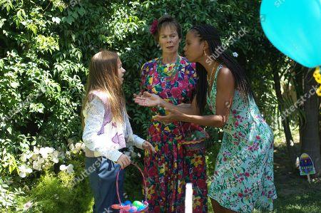 Olivia Edward as Duke, Celia Imrie as Phyllis and Kathryn Taylor-Smith as Cousin Bet