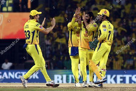 Ravindra Jadeja, Suresh raina, Shane Watson and Mahendra Singh Dhoni of Chennai Super Kings celebrates after taking the wicket of Colin Ingram Delhi Captails during the VIVO IPL T20 cricket match between Chennai Super Kings and Delhi Captailsin Chennai, India