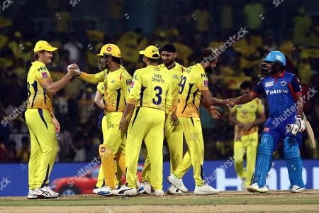 Shane Watson and Mahendra Singh Dhoni congraguklate each other after winning VIVO IPL T20 cricket match between Chennai Super Kings and Delhi Captailsin Chennai, India