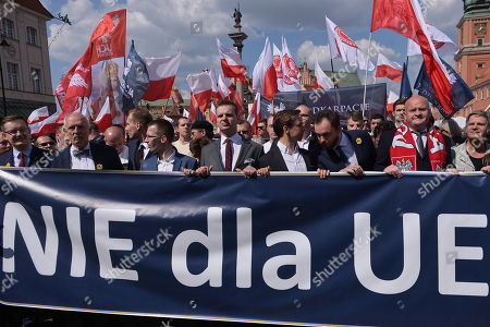 Polish Member of the European Parliament and KORWiN party leader Janusz Korwin-Mikke (2L) attends the Sovereignty march organized by the KORWiN Confederation Braun Liroy Narodowcy, the Independence March Association and the All-Polish Youth in Warsaw, Poland, 01 May 2019. The march crossed the streets of Warsaw on the 15th anniversary of Poland's entry into the EU.