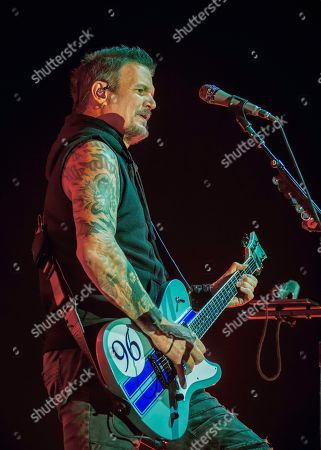 Dan Donegan of the band 'Disturbed' live on stage.