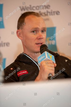 Christopher Froome OBE during the Eve of tour press conference ahead of the first stage of the Tour de Yorkshire in the Leeds Civic Hall, Leeds