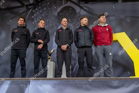 Riders On stage in the fans willage Greg Van Avermaet, Serge Pauwels, Christopher Froome OBE, Owain Doull, Harry Tanfield winner of stage 1 in the 2018 Tour De Yorkshire during the Eve of Tour celebrations in Millennium square,Leeds