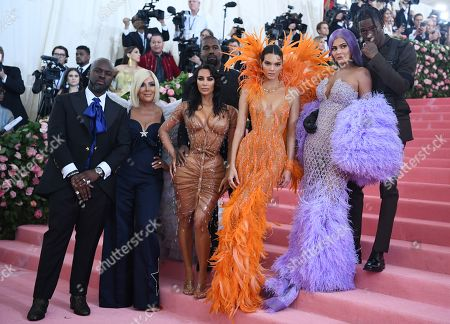 Stock Image of Corey Gamble, Kris Jenner, Kanye West, Kim Kardashian, Kendall Jenner, Kylie Jenner and Travis Scott
