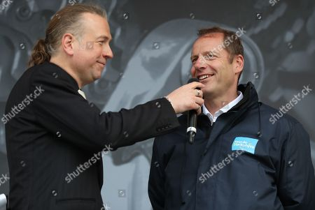 Christian Prudhomme during the Eve of Tour Celebration in Millennium Square.