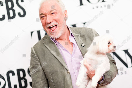 Patrick Page, who was nominated for his role in the musical 'Hadestown', poses with his dog during a press event for the 2019 Tony Award nominees in New York, New York, USA, 01 May 2019. The 2019 Tony Awards will be held on 09 June in New York.
