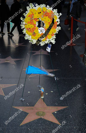 A wreath placed to honor the memory of late US director John Singleton