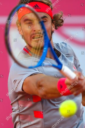 Stefanos Tsitsipas of Greece reacts during his second round match of the Estoril Open Tennis tournament against Guido Andreozzi of Argentina, in Cascais, near Lisbon, Portugal, 01 May 2019.