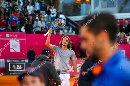 Stefanos Tsitsipas of Greece reacts at the end of his second round match of the Estoril Open Tennis tournament against Guido Andreozzi of Argentina, in Cascais, near Lisbon, Portugal, 01 May 2019.