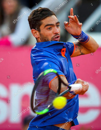 Guido Andreozzi of Argentina in action during his second round match of the Estoril Open Tennis tournament against Stefanos Tsitsipas of Greece, in Cascais, near Lisbon, Portugal, 01 May 2019.