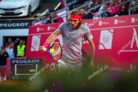 Stefanos Tsitsipas of Greece in action during his second round match of the Estoril Open Tennis tournament against Guido Andreozzi of Argentina, in Cascais, near Lisbon, Portugal, 01 May 2019.