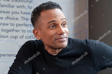 Actor, author, and owner of The Roasting Plant, Hill Harper discusses financial literacy at the Roasting Plant at the #BoostAmerica campaign launch on in Detroit