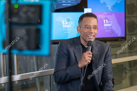 Stock Photo of Actor, author, and owner of The Roasting Plant, Hill Harper discusses financial literacy at the Roasting Plant at the #BoostAmerica campaign launch on in Detroit