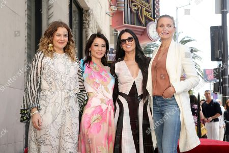 """Drew Barrymore, Cameron Diaz, Lucy Liu, Demi Moore. Drew Barrymore, from left, Lucy Liu, Demi Moore and Cameron Diaz, cast members of the film, """"Charlie's Angels"""" pose at a ceremony honoring Liu with a star on the Hollywood Walk of Fame, in Los Angeles"""