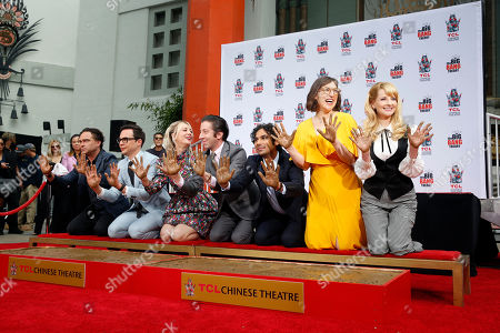 The cast of 'The Big Bang Theory' : US Actor Johnny Galecki, US Actor Jim Parsons, US Actress Kaley Cuoco, US Actor Simon Helberg, Indian Actor Kunal Nayyar, US Actress Mayim Bialik and US Actress Melissa Rauch pose after the placing their hands in cement at the TCL Chinese IMAX Theatre n Hollywood, California, USA, 01 May 2019. ' The Big Bang Theory' is the longest - running multi- camera comedy series in television history.