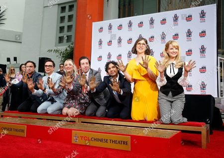 The cast of 'The Big Bang Theory' : US Actor Johnny Galecki, US Actor Jim Parsons, US Actress Kaley Cuoco, US Actor Simon Helberg, Indian Actor Kunal Nayyar, US Actress Mayim Bialik and US Actress Melissa Rauch pose after the placing their hands in cement at the TCL Chinese IMAX Theatre n Hollywood, California, USA, 01 May 2019. ' The Big Bang Theory' is the longest - running multi-camera comedy series in television history.