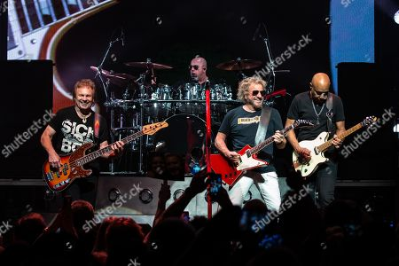 Musicians Michael Anthony, Jason Bonham, Sammy Hagar, and Vic Johnson perform in concert with Sammy Hagar and The Circle at ACL Live