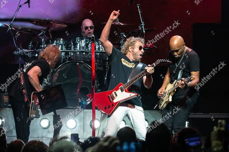 (L-R) Musicians Michael Anthony, Jason Bonham, Sammy Hagar, and Vic Johnson perform in concert with Sammy Hagar and The Circle at ACL Live