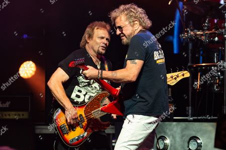 (L-R) Musicians Michael Anthony, Sammy Hagar, and Jason Bonham perform in concert with The Circle at ACL Live