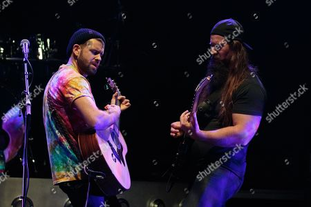 Andrew Hagar (L) of S.o.S. performs in concert ahead of Sammy Hagar and The Circle at ACL Live