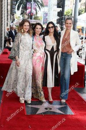 Lucy Liu (2nd L) poses with Drew Barrymore (L), Demi Moore (2nd R) and Cameron Diaz after she unveiled her 2,662nd Star on the Hollywood Walk of Fame in Hollywood, California, USA, 01 May 2019. The star was dedicated in the Category of Television.