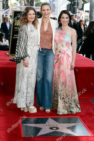 Lucy Liu (R) poses with Drew Barrymore (L) and Cameron Diaz after she unveiled her 2,662nd Star on the Hollywood Walk of Fame in Hollywood, California, USA, 01 May 2019. The star was dedicated in the Category of Television.