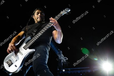 US heavy metal Metallica's bass player Robert Trujillo performs with the band at the Restelo Stadium in Lisbon, Portugal, 01 May 2019.